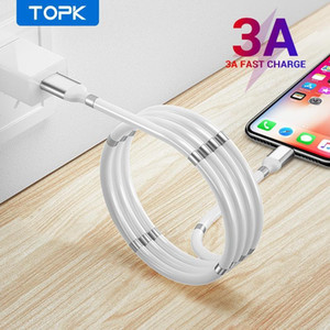 TOPK New AN07 Magnetic Storage Retractable Fast Charging Cable Data Sync Micro USB Type C iPhone Universal FY7430