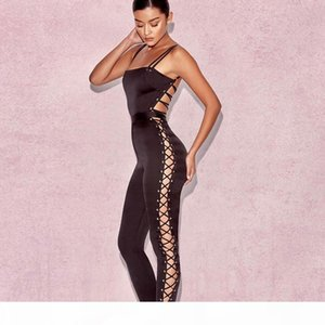 Satin Bandage Design Jumpsuits Womens Slim Black Jumpsuit Spaghetti Strap One-piece Long Pants Sexy Backless Jumpsuits