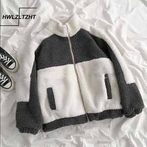 Hwlzltzht Automne surdimensionné Aglaquettes Chaud Lumière Veste Mouton Mouton Mouton Patchwork Coton