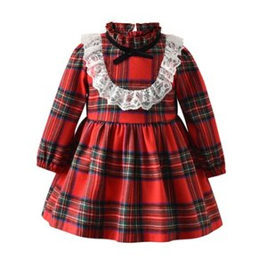 Kids Princess Dress for Baby Girls Winter Red Plaid Lace Dresses Toddler Children Ruffle Turtleneck Party Bow Clothing