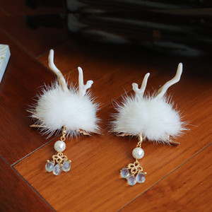 Deer mink hair ball Hanfu hair accessories antique headdress Christmas forest cute antlers tassel hairpin