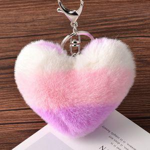 Heart Shaped Plush Keychain 8CM Women Backpack Pendant Decoration Love Car Key Chain Ring Pendant Valentine Day Girl Gift FFA2581