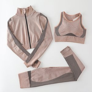 Sports Winter Fashion Autunm Womens Yoga Set Suit Gymshark Piece Designer Fitness Tracksuit Three Cotton Sportwear 3PCS Outfits Legging Luov
