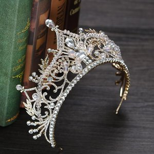 Gorgeous Sparkling Gold Crystal Pageant Tiaras Hairband Bridal Big Crowns For Brides Wedding Hair Accessories Headpieces