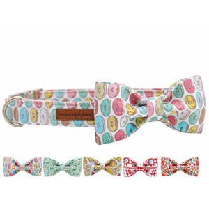 Donuts Cotton Fabric Dog Collar and Leash Set with Bow Tie for Big and Small Dog Metal Buckle Pet Accessories