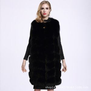 2020 European and American fashion winter new ladies plus size fur vest mid-length fox fur faux jacket