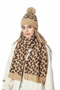 Leopard Print Winter Scarf Beanie Knitted Hat Set Unisex High Quality Warm Ski and Skate Full Knit Caps Scarf Sets 9 Colors