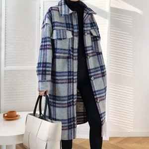 Winter 2020 Turn Down Collar Plaid Long Woman Woolen Coats Straight Loose Thick Oversize Shirt Woolen Jacket Casaco Feminino