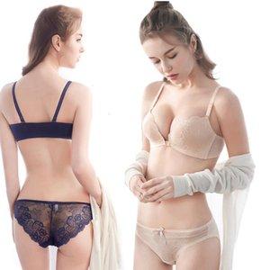Elovegirl New Girl Underwear Set Women Lace No Steel Ring Front Buckle Bra Suit Beautiful Back Explosive Underwear Women Set