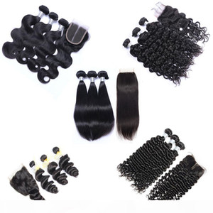 Malaysian Virgin Hair Weave 3 Bundles with Lace Closure Unprocessed Remy Human Hair Body Wave Straight Loose Deep Curly Wet and Wavy Closure