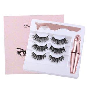Three Pair Of 3D Magnetic Eyeliner Liquid False Eyelashes Set Magnet Eyelashes Magnetic Liquid Eyeliner