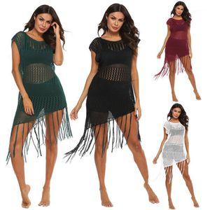 H80S90 Women Tassel Beach Dress Traje de baño Cover Up Ladies 'Crochet Bikini Traje de baño Sexy Hollow Beachwear ROBE1 KSGTD