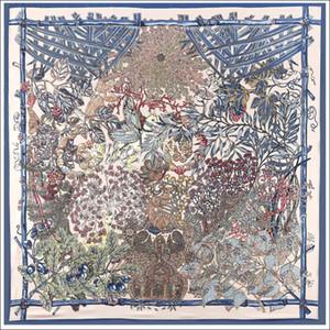 Stain Edge Scarf 130*130Cm Spain Print Square Scarves Horse Print Vintage Foulard Female Silk Hijab Lady Bandana Gift Silk Shawl