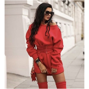 Ladies Bandage Sexy Dress Fashion Trend Long Sleeve Round Neck Waisted Short Skirt Designer Female Winter New High Waist Casual Loose Dress