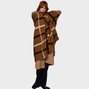 2020New Grande Plaid Plaid Cashmere Like of Z Home Inamerica in autunno e inverno, sciarpa scialle calda addensata da donna