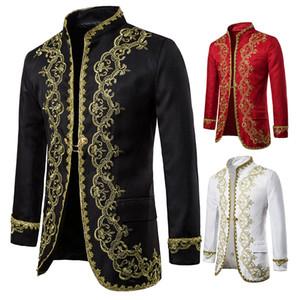 Oeak African Style Luxury Blazer Stylish Golden Embroidery Luxury Suit Jacket Men Stand Slim Vintage Suit Coat Wedding Party