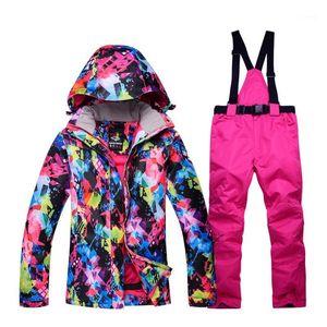New Thick Warm Women's Ski Suit Waterproof Windproof Skiing and Snowboarding Jacket Pants Set Winter Jacket Women Snow Costumes1
