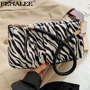 Ins Zebra Pattern Baguette Borsa Fashion Ruched PU in pelle Crossbody Borse Donne Inverno Borsa a tracolla portatile Borsa di lusso Borsa di lusso Q1208