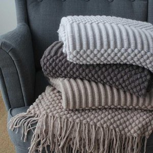 Nordic Knitted Blanket Travel Blanket Grey Khaki Sofa Throw with Tassels Air Condition Blankets 127x170cm