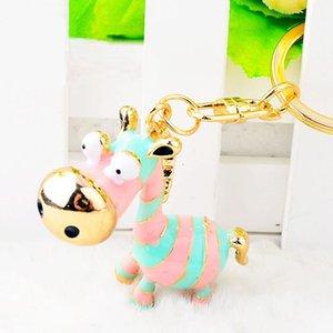 Lovely Pink Blue Stripe Donkey Keychain Keyring Car Handbag Key Holder Enamel Key Chains Metal Party Gift Cartoon Animal Jewelry