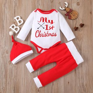 Newborn Set Coat Kids Baby Girls Fashion Winter Christmas Letter Cartoon O-Neck Tops+Soild Pants+Hat Set 2Pcs Children Clothing