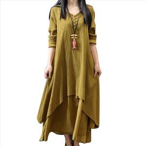 New Women Cotton Linen Asymmetric Large Swing Button Loose Long Sleeve Maxi Dress Summer hot solid loose maxi dress