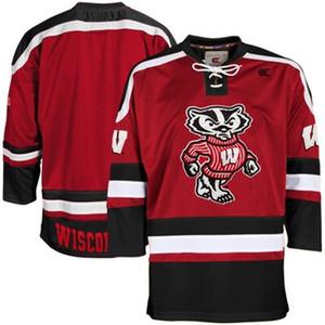 2020ncaa Wisconsin Badgers Hockey Hockey Jersey Вышивка сшитая настроить любой номер и название майки