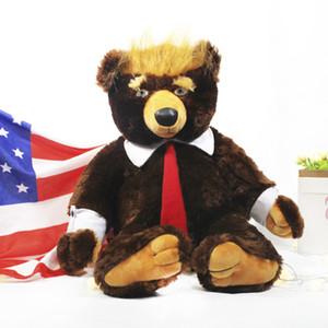 50/60 cm Donald Trump Bear Pelhed Animal Toy Toy Cool USA Presidente Bear con Bandiera Carino Bandiera elezione Bandiera Teddy Bear Doll Peluche Giocattolo Bambini regalo