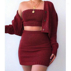 3 piece set women set outfits suit Fashion Women's Solid Color Knit Suit Dew Navel Sexy Casual Three-Piece#311