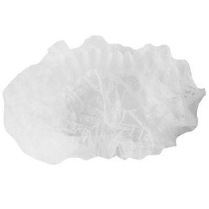 AFBC 200 Pack White Hair Net - Cable Men and Women Bouffant Cap، غطاء الرأس للخدمة، الطبخ