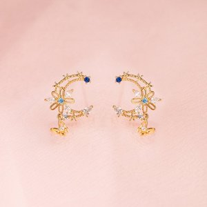 2021 Spring New Design Fashion Girl Jewelry Rose Gold Colors Dainty Blue CZ Flower Cute Lovely Moon Shape Butterfly Drop Earring