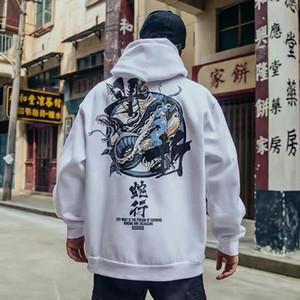 الرجال هوديس بلوزات أزياء الرجال بارد الهيب هوب اليابانية عارضة الشارع الشهير المرأة فضفاض البلوز المتناثرة الشيطان هوديي ذكر