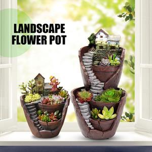 Sky Garden Micro Landscape Flower Pot Planter Bonsai Succulents Plants Garden Pots for Office Home Decoration Craft Ornaments Q1125