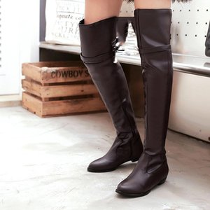Retro Women's Long Boots Slim Knight Boots Sexy Over The Knee High Leather Boot Winter High Belt Buckle Flat Shoes Feminina#1121