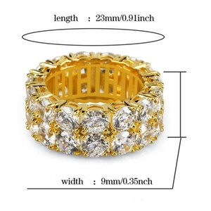 Hip Hop Iced out Rings Micro Pave CZ Stone 9mm Tennis Band Ring Men Women Charm Jewelry Crystal Zircon Diamond Gold Silver Plated Wedding Fa