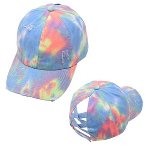 Tie-Dye Ponytail Hat Hallow Criss Cross Impreso PonyTail Cap de Béisbol Casca Newest Street Alare Sports Tide Hat Lla155