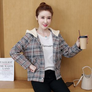S M L XL new winter 2020 women woolen jacket long sleeve hooded plaid causal loose with pocket and button