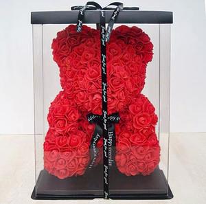 Прекрасный медведь роз без светодиодной подарочной коробки плюшевого мишку розовые мыльные пены цветок искусственные новогодние подарки на день Святого Валентина подарок