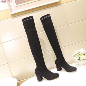 2019 High heel knit boots socks shoes for autumn and winter, Comfortable and breathable high knit thigh-high socks boots With box 34-40