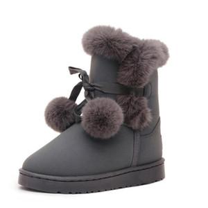 Kürk Kar Botları Bayan Saç Topu Yüksek Kalite Avustralya Çizmeler Kadın Kış Çizmeler Kadınlar Için Sıcak Botas Chaussure # 49