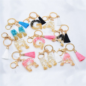 DHL Tassel Letter Keychain Trendy Creative Colorful 9 English Letter Initial Resin Handbag Keyring Accessories For Women gift