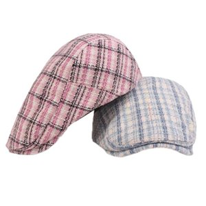 Men's and Women's Plaid Flat Hat Beret Cap Sun Hat Retro Beret Newsboy