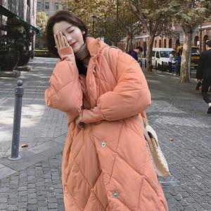 DMLFZMY Capuchacha albaricoque cálido tamaño grande algodón acolchado funda larga fosa suelta mujeres parkas moda nuevo otoño invierno 201029