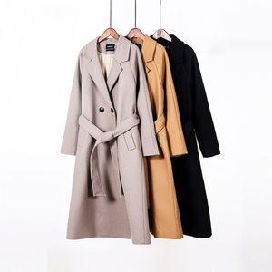 wholesale 2020 Fall wool coat women long coat jacket 50% wool ladies outwear double breasted outwear
