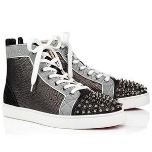 Super diseños para hombres Red Bottle Shoes Spikes Orlato Mens Plano Creativo Tela High Tops Sneakers Black Silver Remache Sneakers Top Regalo