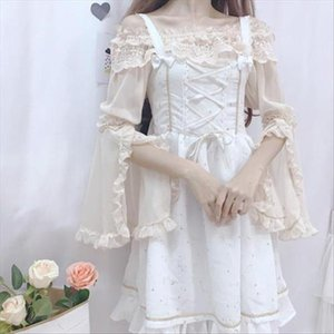 New Summer Cute Women Shirt Long Sleeve Lolita Clothes Chiffon Shirt Butterfly Sleeve Slash Neck Lace Blouses Top Female