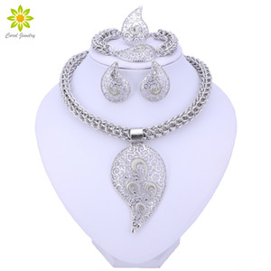 Bridal African Beads Jewelry Sets For Women Silver Color Crystal Necklace Earrings Bracelet Ring Accessories Z1201