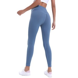 calções de ioga LU Cor sólida Cintura Alta Mulheres Desporto Senhora geral calções de corrida calças de ginástica use calças de Leggings elástico Fitness