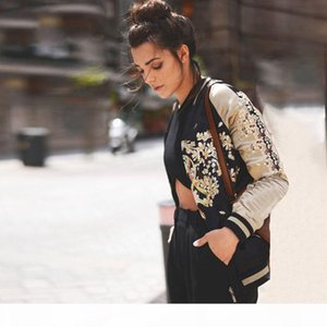 Satin phoenix embroidery bomber jacket Women floral sukajan souvenir jacket coat Autumn winter streetwear basic jackets