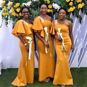 African Nigerian Yellow Mermaid Bridesmaid Dresses One Shoulder Sexy Maid of Honor Wedding Guest Party Wear vestidos de novia robes